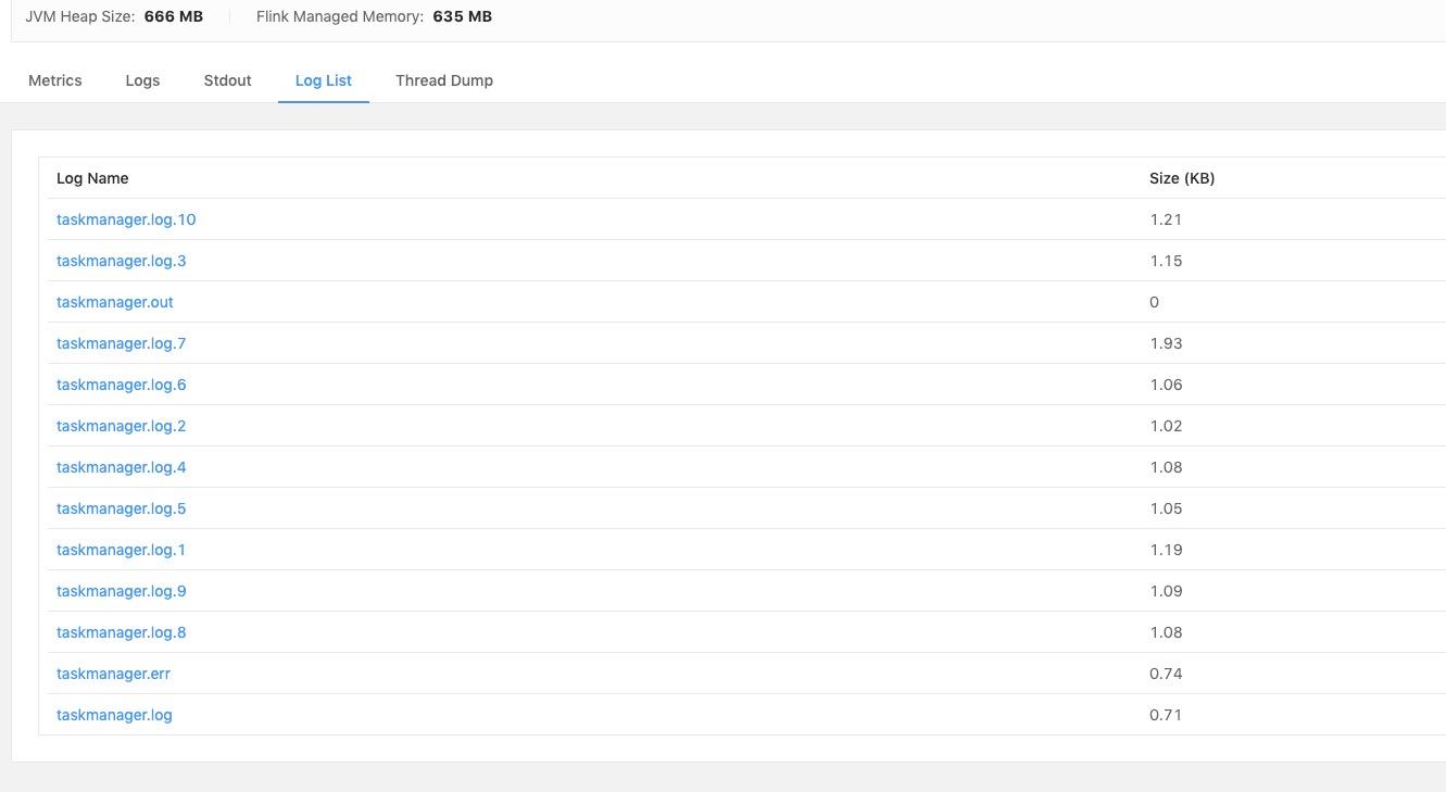 TaskManager 日志列表展示